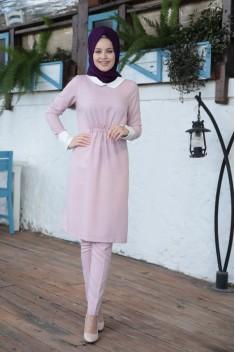 Cizgili Tunic / Pants - Pink