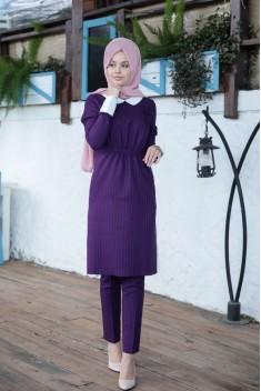 Cizgili Tunic / Pants - Purple