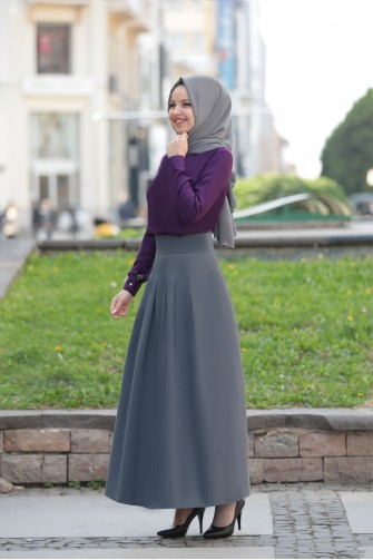 Pileli Skirt Grey