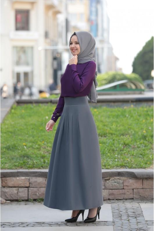 Pileli Skirt Grey