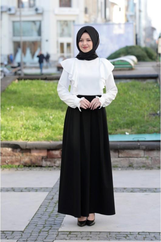 Pileli Skirt Black