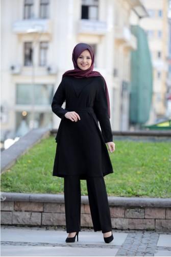 Ahenk Tunic Pants  Suit - Black