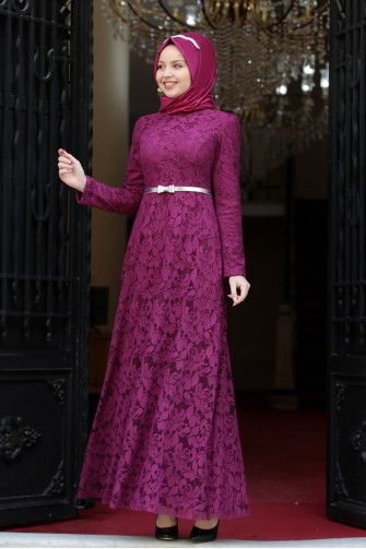 Duru Lace Dress Fushia